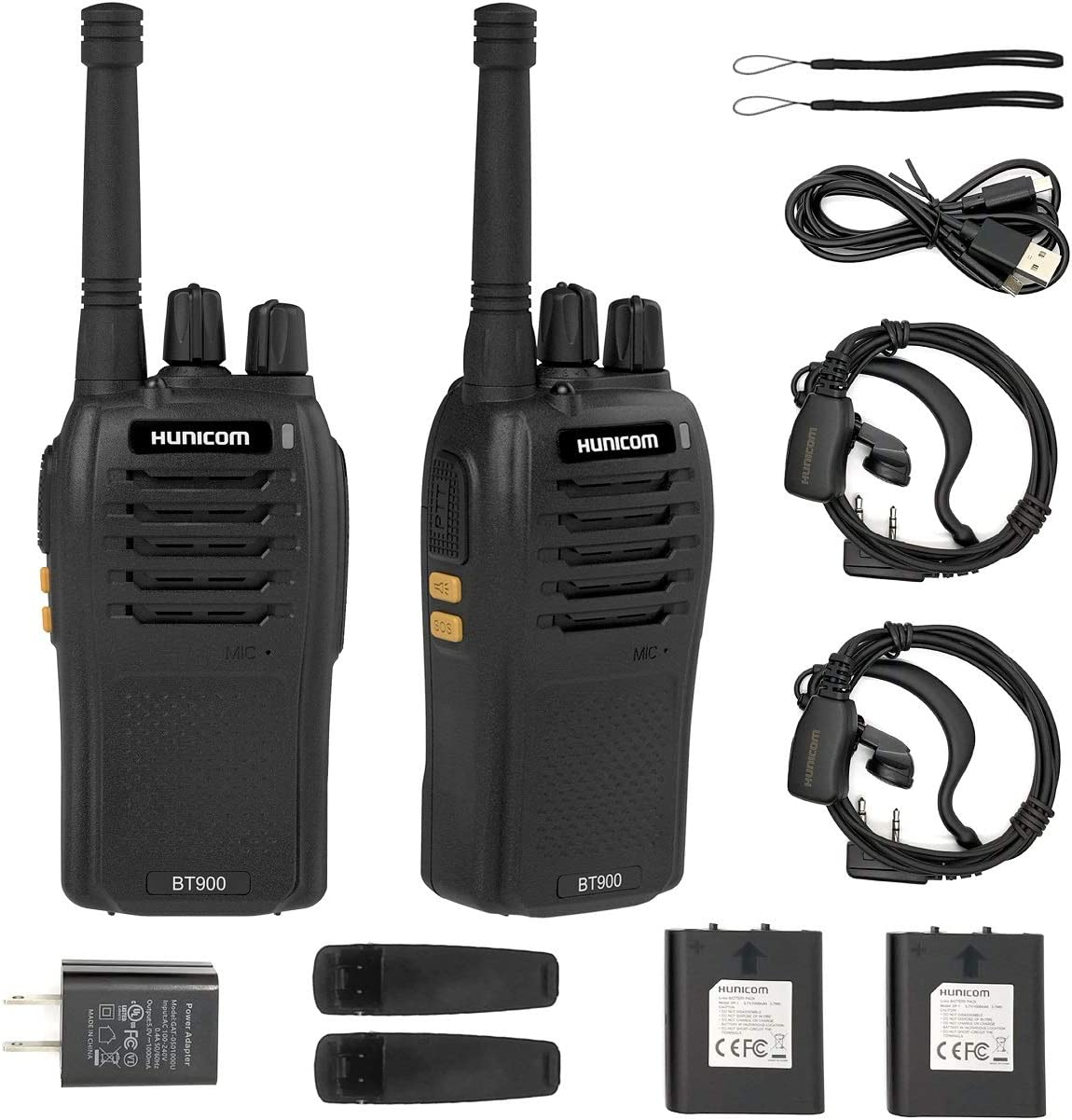 Walkie Talkies Rechargeable, HUNICOM Long Range Walkie Talkies for Adults Two Way Radio, Walkie Talkie with Earpieces and Mic, Walky Talky with Charger for Family Activities, Camping, Hiking, Biking