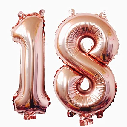 KEYYOOMY 40 Inch Big Number 18 Mylar Balloons Rose Gold 18th Birthday Jumbo Foil Balloon