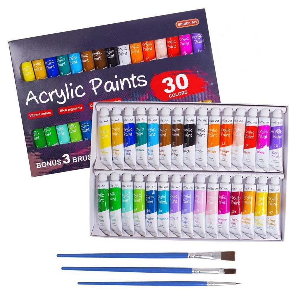 Acrylic Paint Set Shuttle Art 30 X12ml Tubes Artist Quality Non Toxic Rich Pigments Colors Great For Kids Adults Professional Painting On Canvas Wood