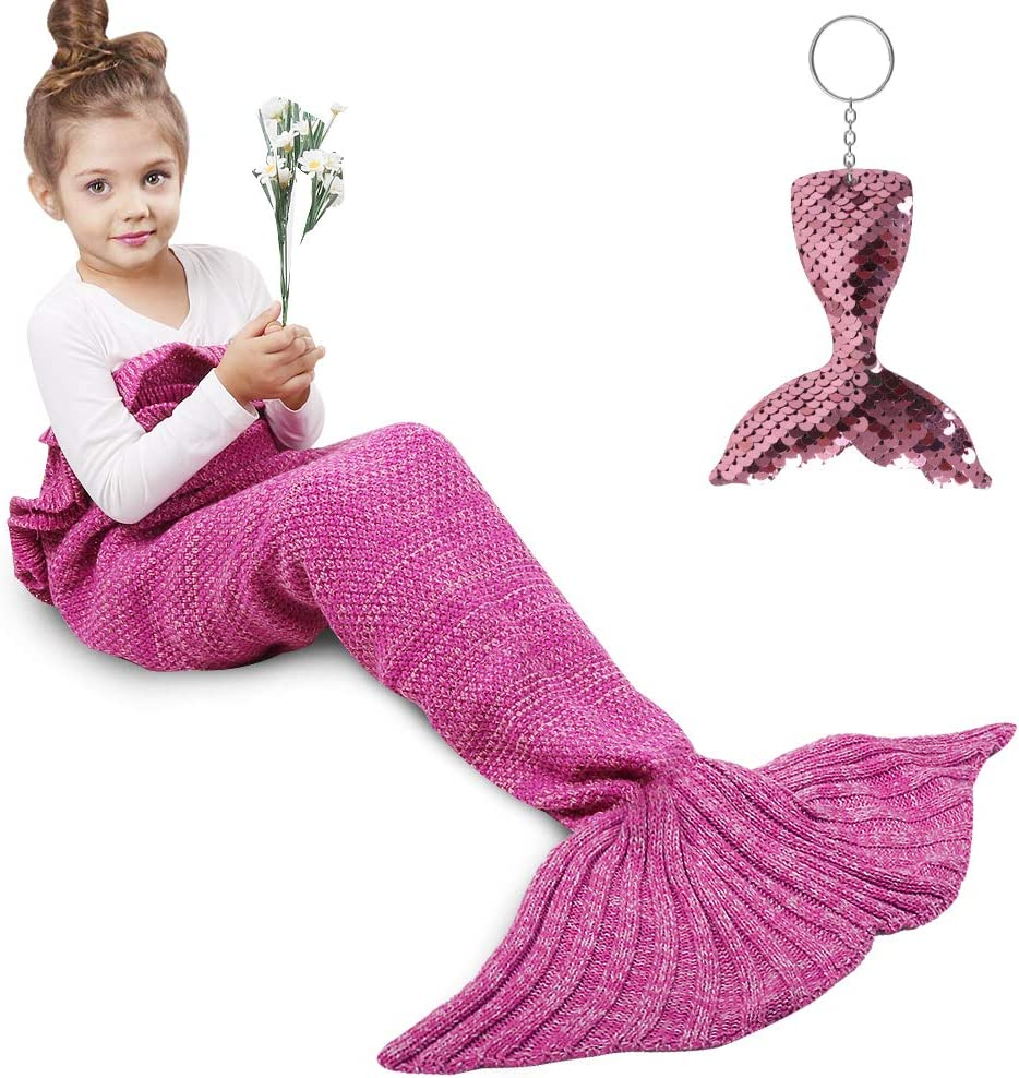 AmyHomie Mermaid Tail Blanket, Mermaid Blanket Adult Mermaid Tail Blanket, Crotchet Kids Mermaid Tail Blanket for Girls (Rose, Kids)