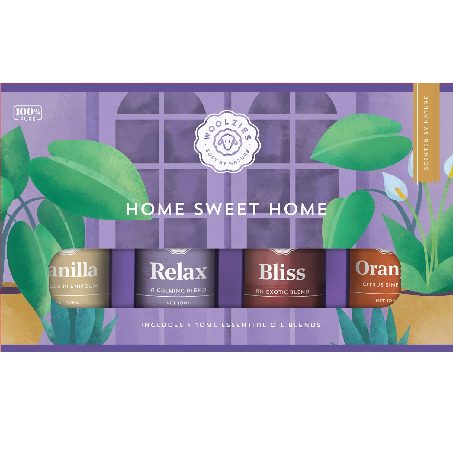 Woolzies 100% Pure Undiluted Home Sweet Home Essential Oil Set of 4 | Vanilla, Relax, Bliss & Orange Oils | Uplifting, Refreshing, Energizing, Calms Emotions | Therapeutic Grade |For Diffusion/Topical