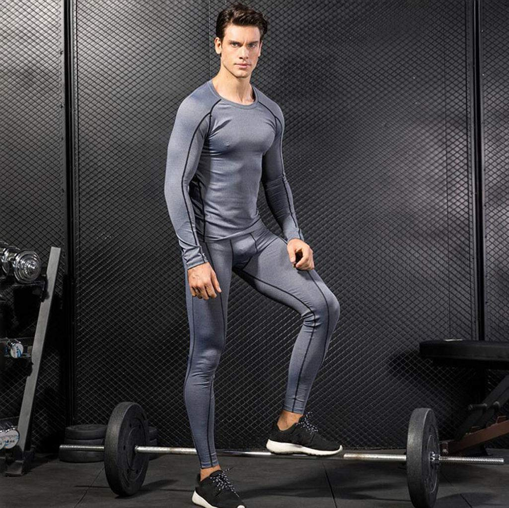 Pantaloni Set da Intimo Termico da Uomo Colore : Gray, Dimensioni : S. Abbigliamento da Allenamento Aderente Completo Sportivo da Allenamento Tuta asciutta Adatta a Maniche Lunghe