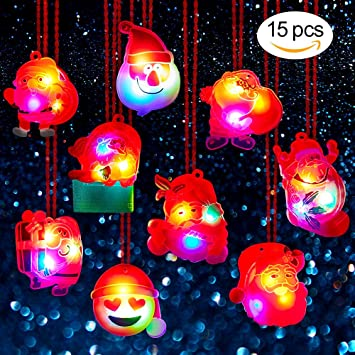 BUDI 15Pc Christmas Gifts LED Necklaces Party Favors For Kids Adults Stocking Stuffers Decorations