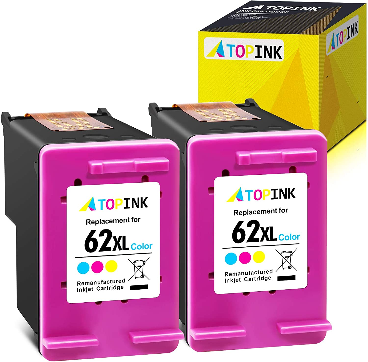 ATOPINK Remanufactured Ink Cartridge Replacement for HP 62XL 62 XL Work with Envy 7640 5660 5540 5661 5642 5640 5640 5663 5544 5542 5549 5643 OfficeJet 5740 250 5745 5746 200(Tri-Color 2 Pack