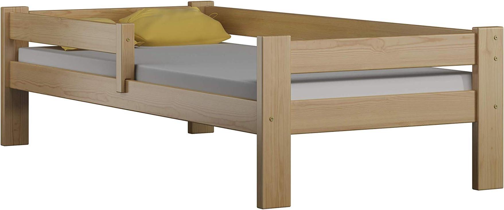 Childrens Beds Home Cama Individual de Madera de Pino Macizo - Sauce sin cajones ni colchón Incluido (180x90, Natural)