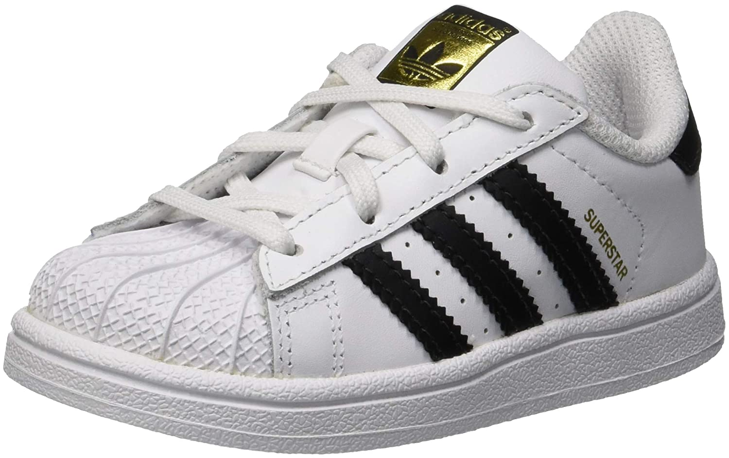 Amazon.com | adidas Originals Superstar I White/Black Leather Baby Trainers | Shoes