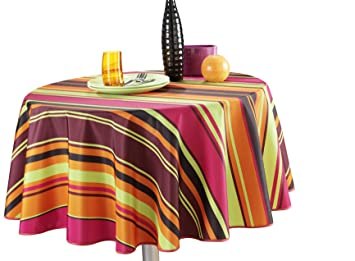 63 Inch Round Tablecloth Orange Stripe, Stain Resistant, Washable, Liquid  Spills Bead