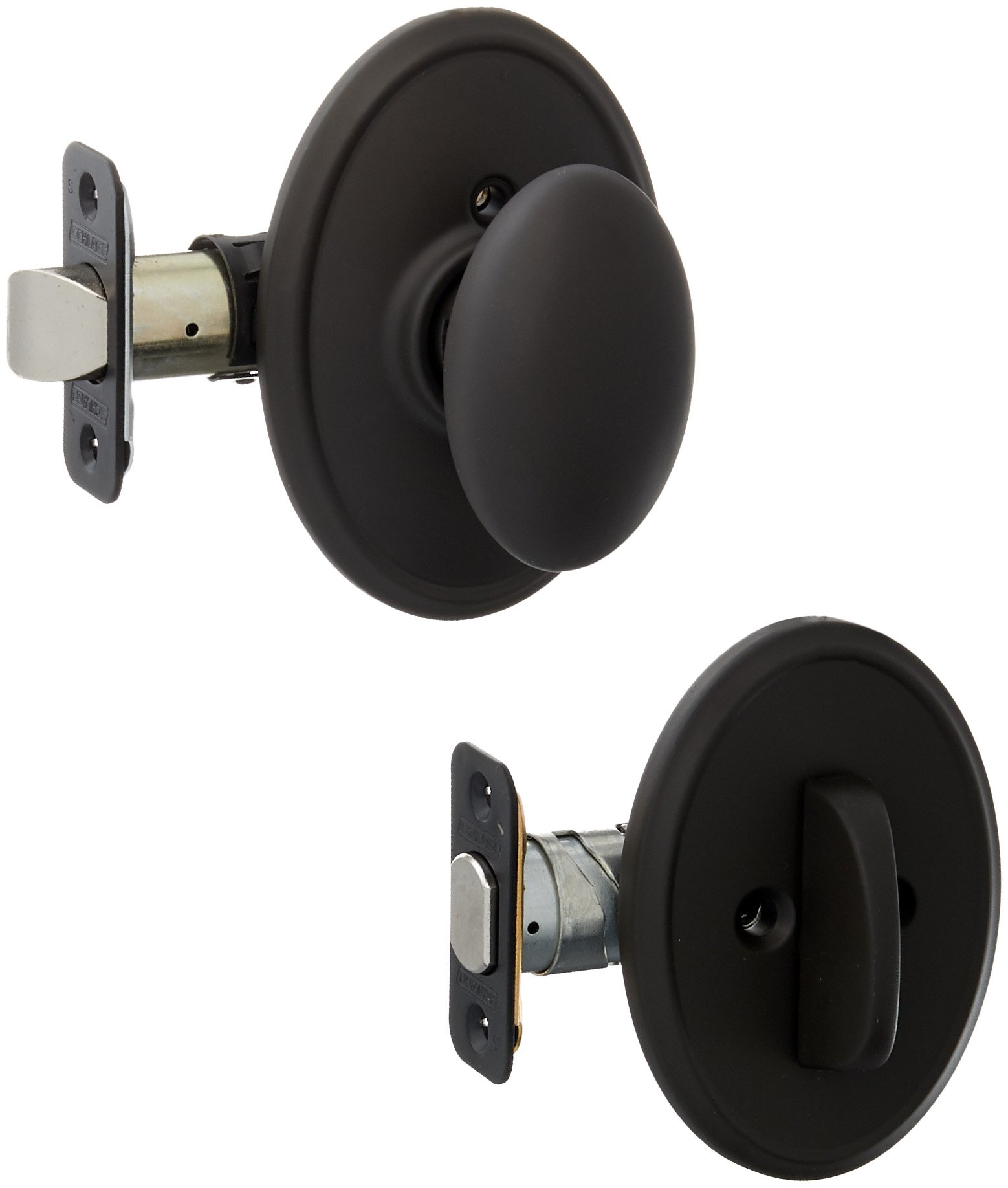 Schlage Lock Company F59SIE613WKF Oil Rubbed Bronze Siena Interior Pack Knob Set with Single Cylinder Deadbolt and Decorative Wakefield Rose
