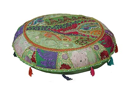 Jth vintage etnico indiano bohémien patchwork pouf ottomano piede