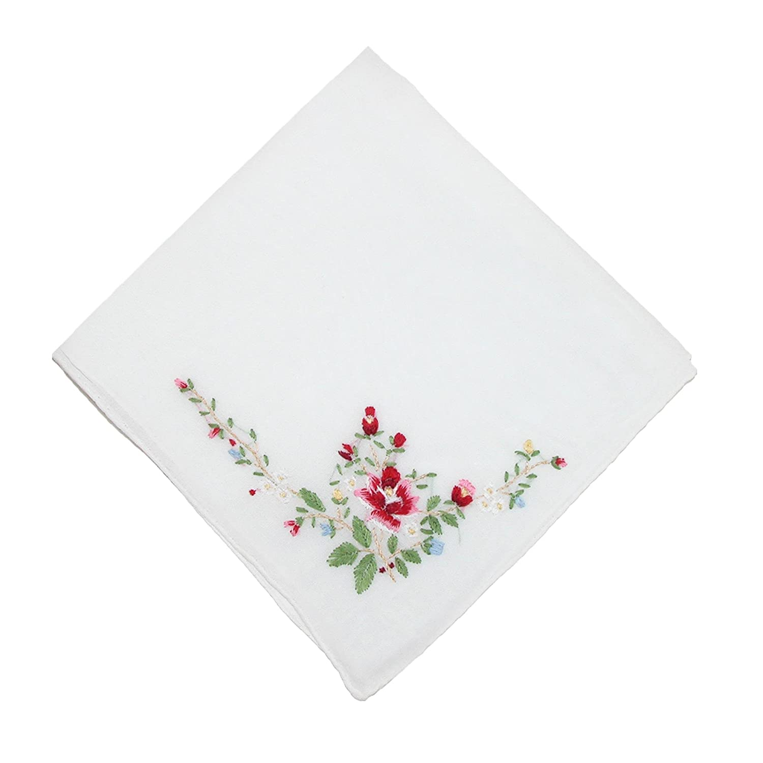 CTM Women's Cotton Floral Embroidered Handkerchief, Pink WO-125452-PNK