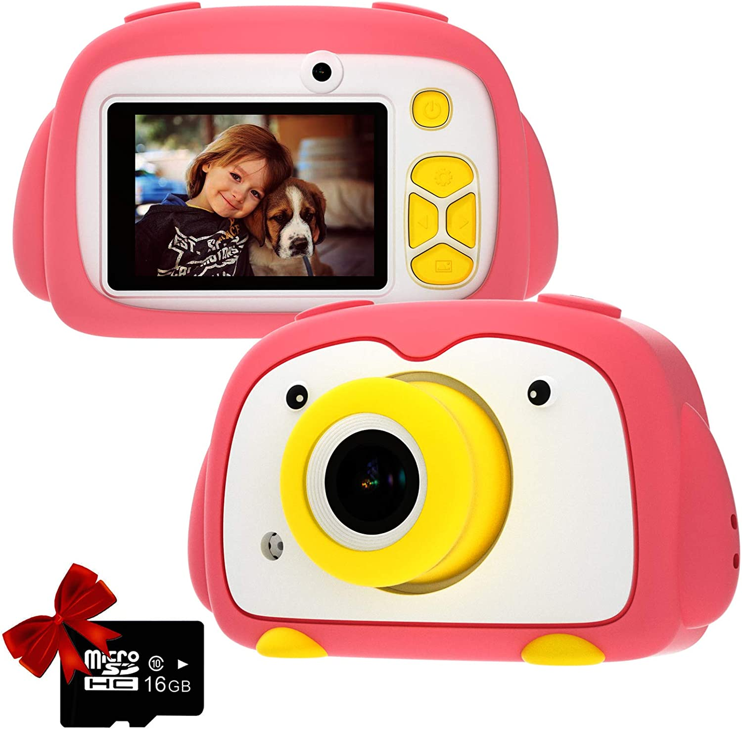 Kids Camera PANNOVO Digital Cam for Girls Rechargeable Video Recorder Cartoon Shockproof Silicone Case with 16GB SD Card 12MP HD 1080P 2 Inch Screen for 3-12 Year Old Boys Toddler - Pink