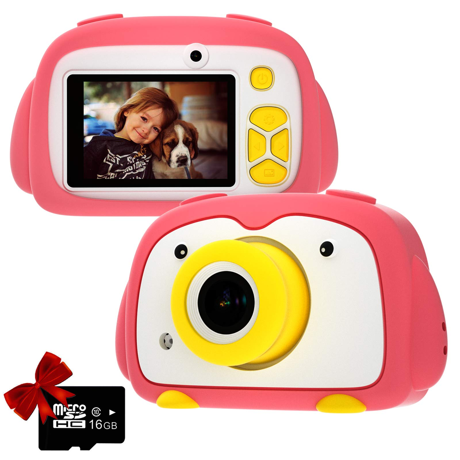 Kids Camera PANNOVO Digital Cam for Girls Rechargeable Video Recorder Cartoon Shockproof Silicone Case with 16GB SD Card 12MP HD 1080P 2 Inch Screen for 3-12 Year Old Boys Toddler (Pink) by PANNOVO