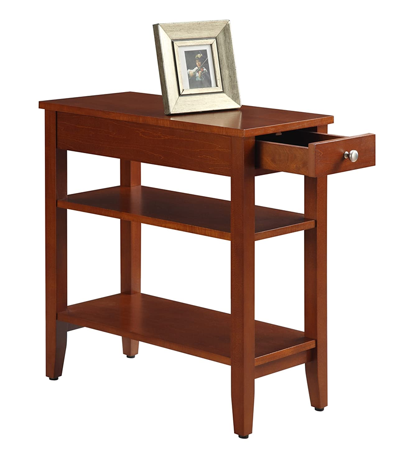 Amazon.com: Convenience Concepts American Heritage 3 Tier End Table With  Drawer, Cherry: Kitchen U0026 Dining