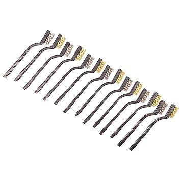 Cikuso Paquete De 14 Juego De Cepillos De Alambre Para Limpiar Escoria Y óxido De Soldadura