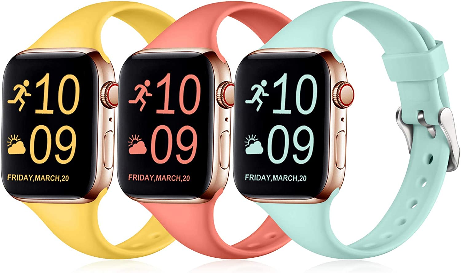 Henva Band Compatible with iWatch 40mm 38mm, Waterproof Soft Slim Band Compatible for Apple Watch SE Series 6/5/4/3/2/1, 3 Pack, Tiffany Blue/Mango Yellow/Coral, S/M