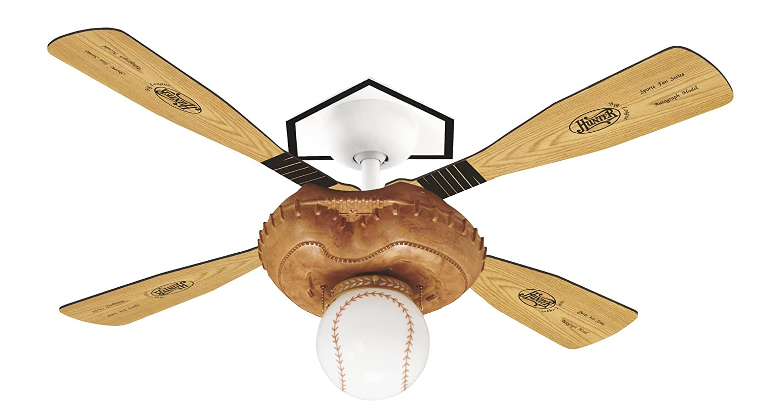 Hunter 23252 baseball 44 inch single light 4 blade ceiling fan hunter 23252 baseball 44 inch single light 4 blade ceiling fan leather look mitt base with 4 pinealuminum blades and baseball light amazon home mozeypictures Gallery