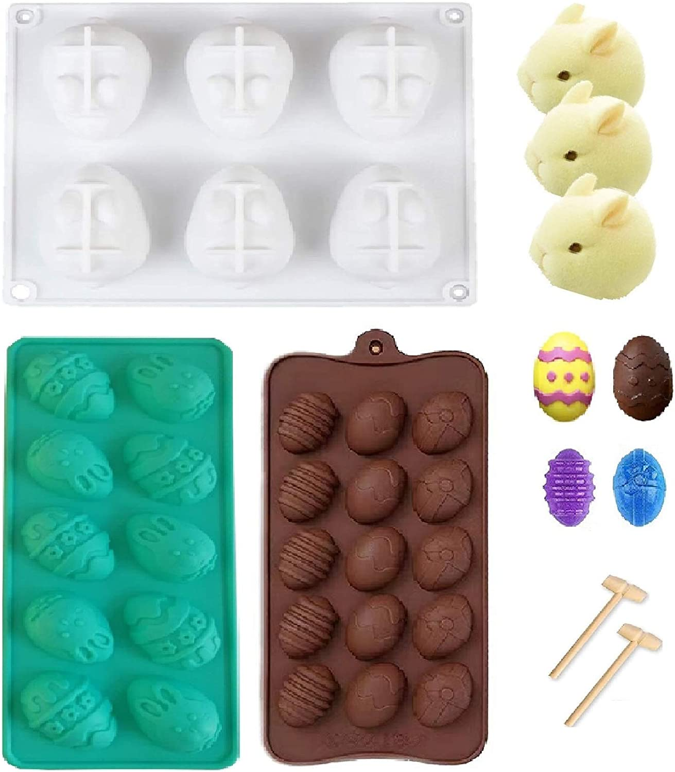 Easter Egg Shaped Cake Mold Silicone and Easter Bunny Shaped Molds Set 6 Cavities Rabbit Cake Molds Trays Cooking Supplies for Chocolate, Candies, Ice Cube Trays 3D Baking Molds with Wooden Hammers