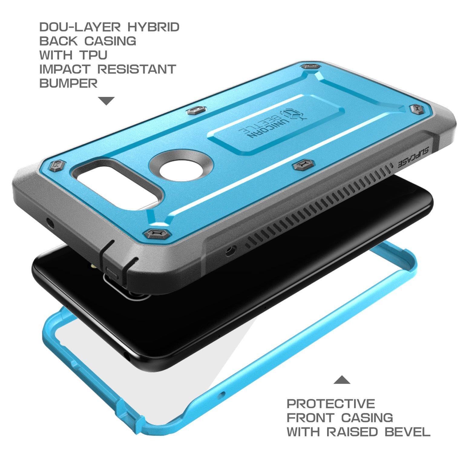 LG V30 Case, SUPCASE Full-body Rugged Holster Case with Built-in Screen Protector for LG V30, LG V30s,LG V35,LG V35 ThinQ,LG V30 Plus 2017 Release, Unicorn Beetle PRO Series(Blue/Gray) by SUPCASE (Image #4)