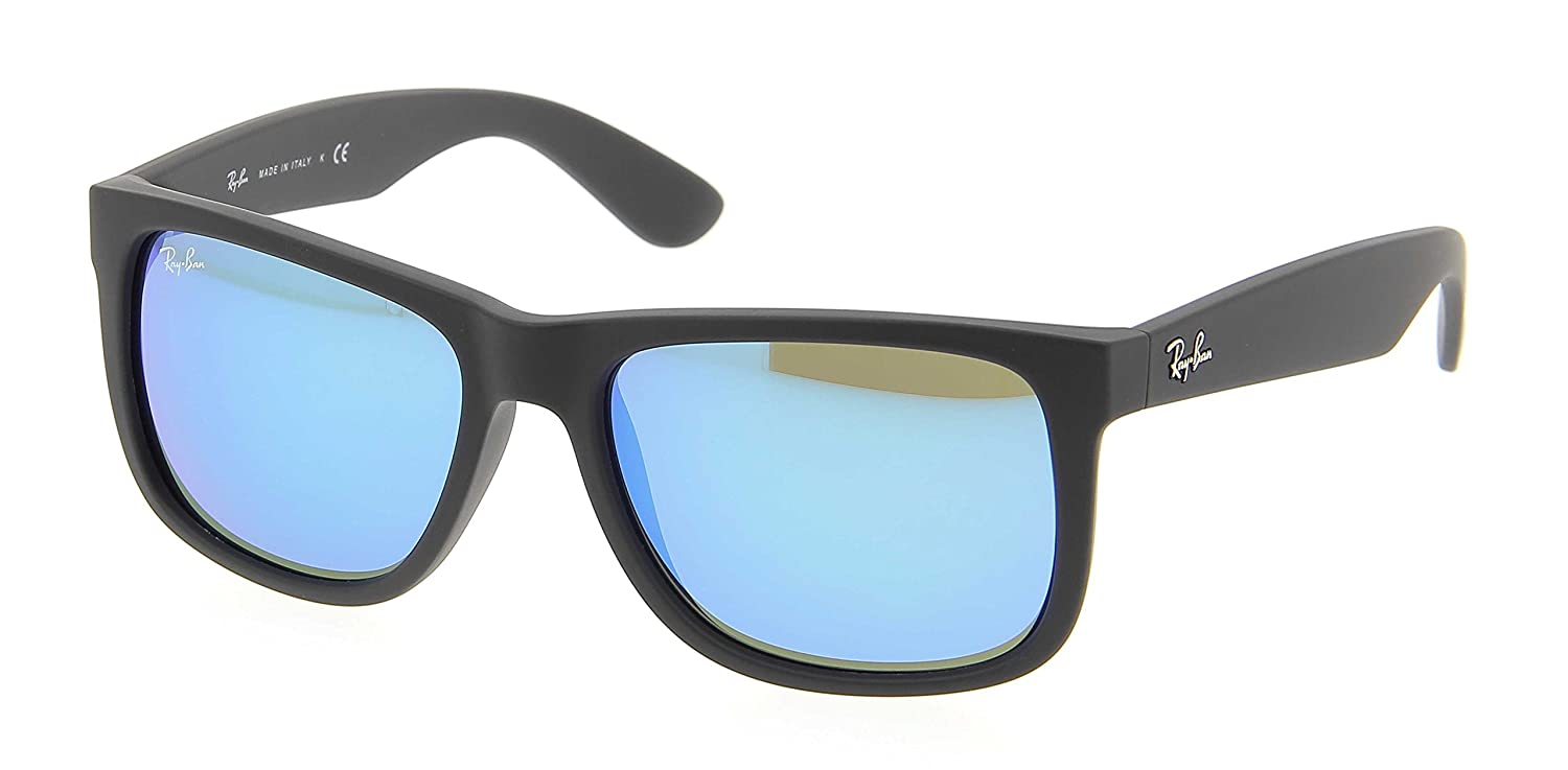 2d10770abf Amazon.com  Ray-Ban Justin RB4165 622 55 51M Black Rubber Green Mirror  Blue  Home   Kitchen