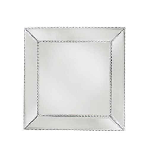 Square Silver Bead Mirror Charger Plate - Silver mirror charger plates will enhance your tablescape! | http://christmastablescapedecor.com/elegant-silver-table-setting/