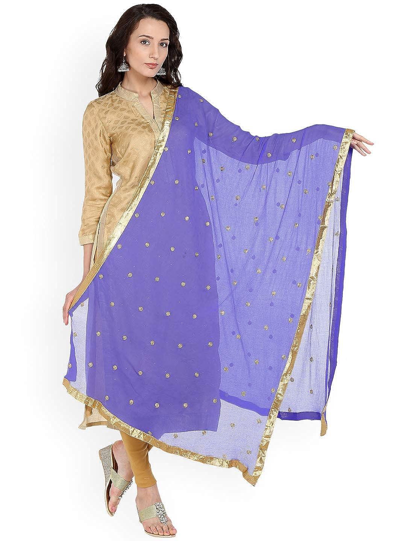 TMS Womans Embroidered Chiffon Dupatta Scarf Shawl Wrap Soft Indian Bridal Wedding