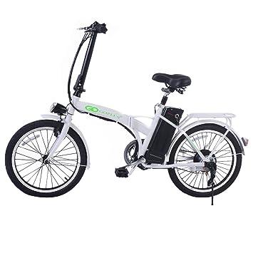 Bicicleta eléctrica plegable batería 36V-10ah Aoma motor LED Carga 110 kg Blanco/Negro