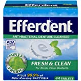 Efferdent Plus Mint Anti-Bacterial Denture Cleanser Tablets, 44 Count