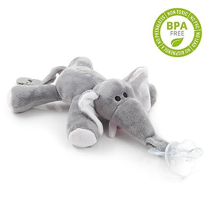 Chupete con elefante BabyHuggle - Chupeta con peluche para bebé, Juguete de felpa suave con chupón separable de silicona, Chupador con correa, cierre ...