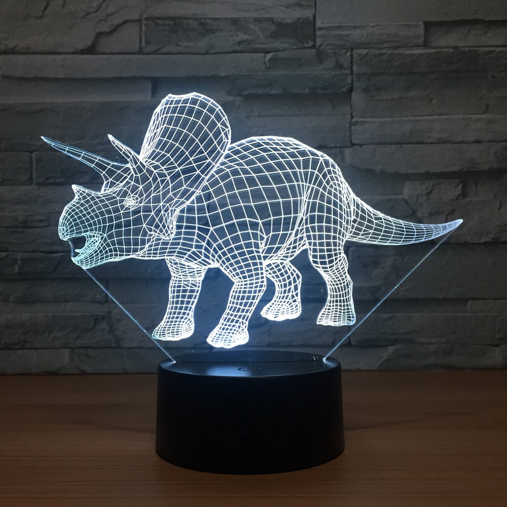 Dinosaur Kids Night Lights Bedside Lamp 7 Colors with Smart Touch Changing Remote Control MH ZONE 3D Night Light Lamp Dinosaur Triceratops The for Kids Women Girls Boys