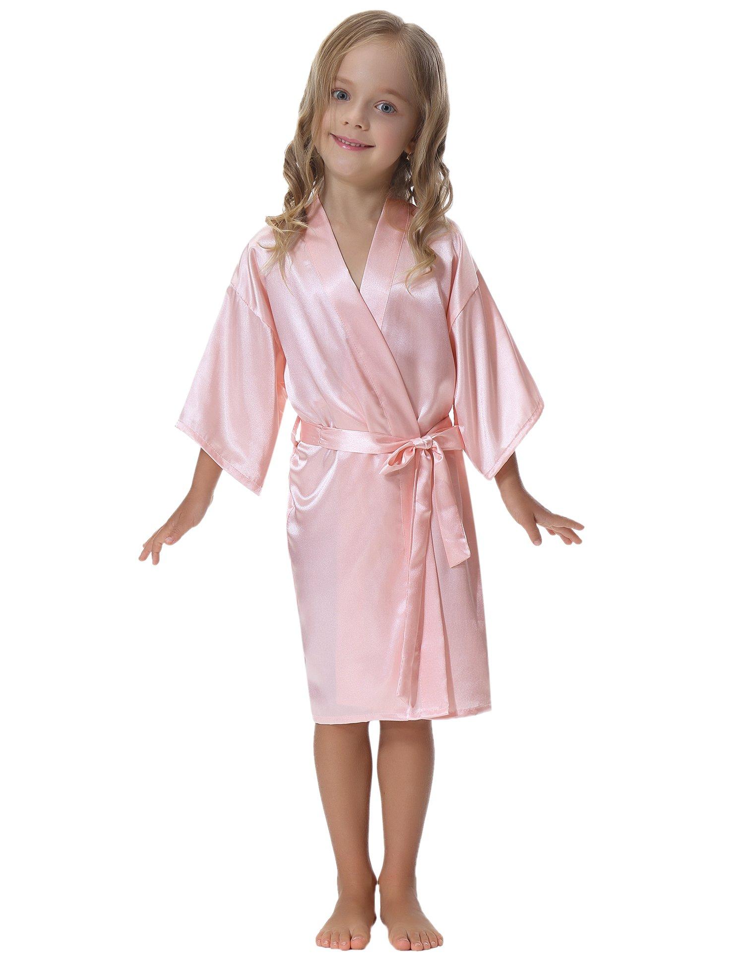 Aibrou Kids\' Satin Kimono Robe Bathrobe Nightgown For Spa Party ...