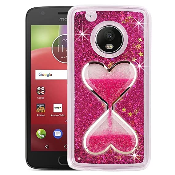 the best attitude 4f28c 42bc2 Amazon.com: Moto E4 Liquid Case, QKKE [Hourglass Series] 3D Glitter ...