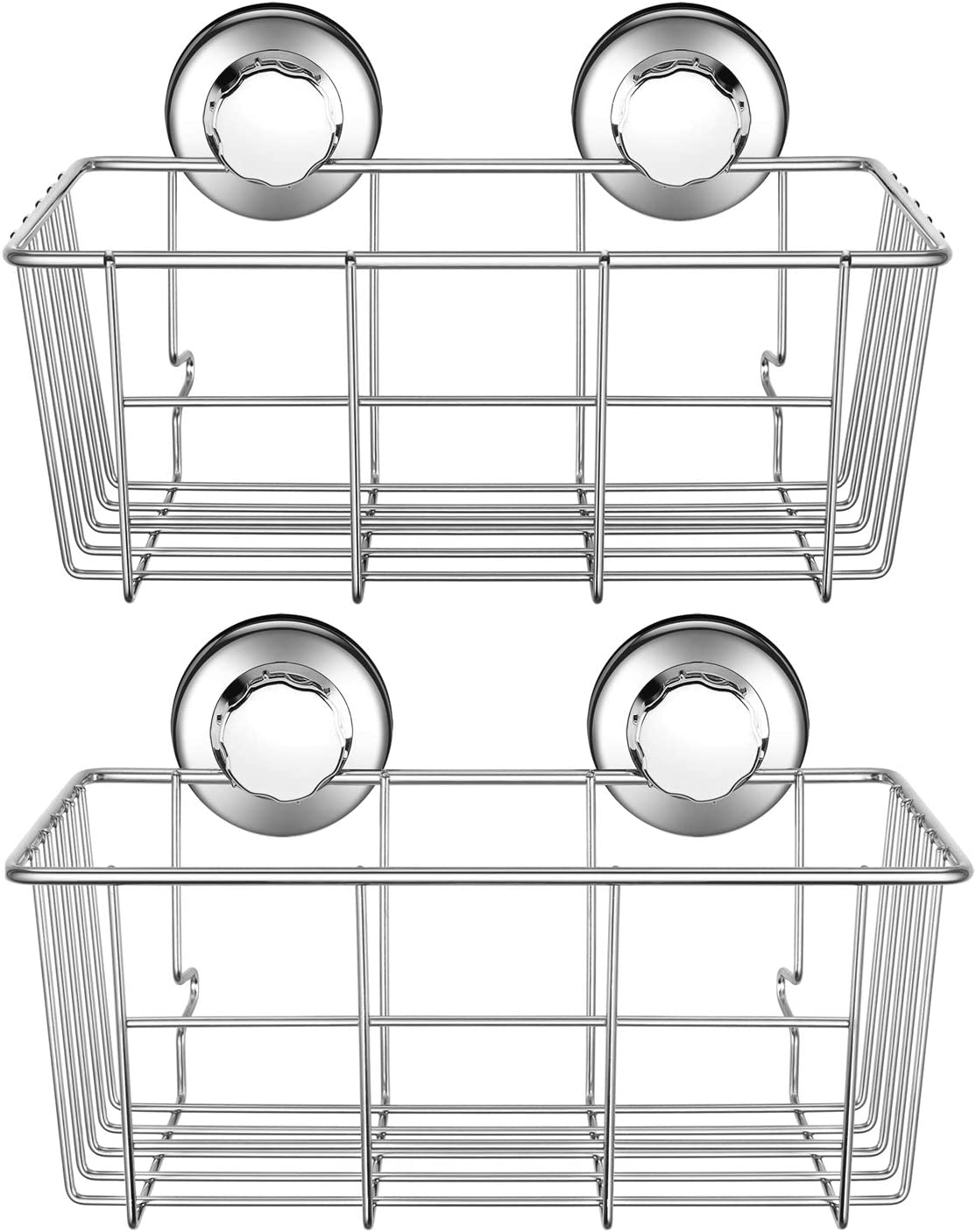 iPEGTOP L-7 Adhesive Suction Cup Deep Caddy Bath Organizer Wall Shelf for Large Shampoo Shower Gel Holder Bathroom Accessories Storage-Rustproof 304 Stainless Steel, 2-Pack, 2 Pack