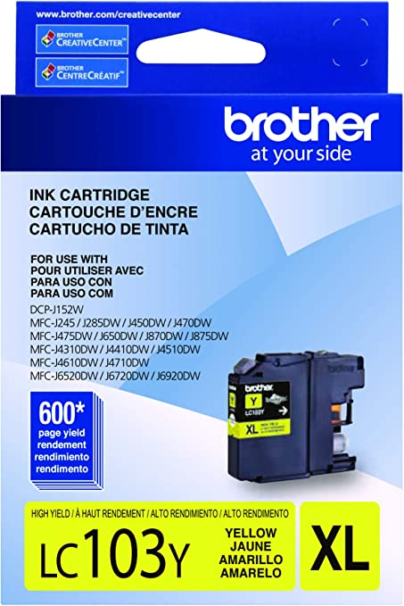 Brother LC-103Y DCP-J132 J152 J171 J4110 J552 J752 MFC-J245 J285 J4310 J4410 J450 J4510 J870 J875 Ink Cartridge (Yellow) in Retail Packaging