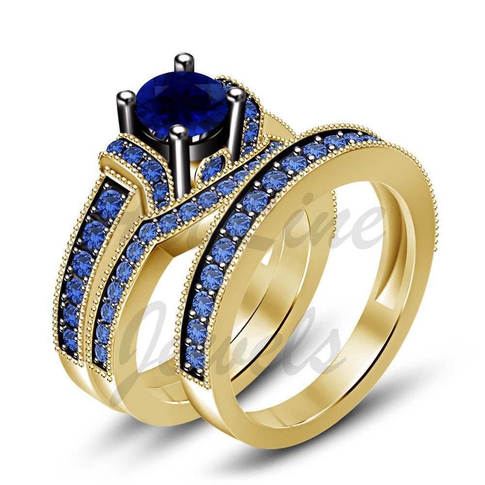 ArtLine Jewels Men & Women 18K Yellow Gold Plated Round Blue Sapphire Engagement Wedding Trio Ring Set