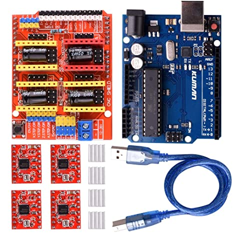 kuman CNC Shield Expansion Board V3 0 +UNO R3 Board + A4988 Stepper Motor  Driver with Heatsink for Arduino Kits K75 (CNC Shield+UNO R3+Stepper Motor)