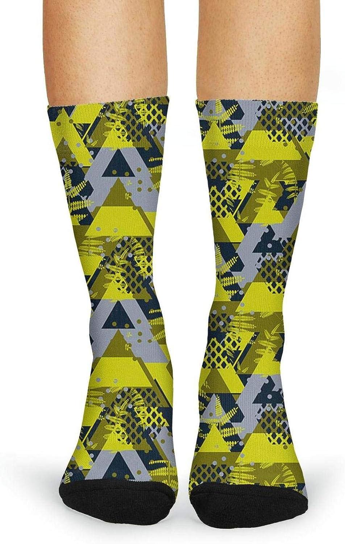 XIdan-die Womens Over-the-Calf Tube Socks yellow diamond camo Moisture Wicking Casual Socks