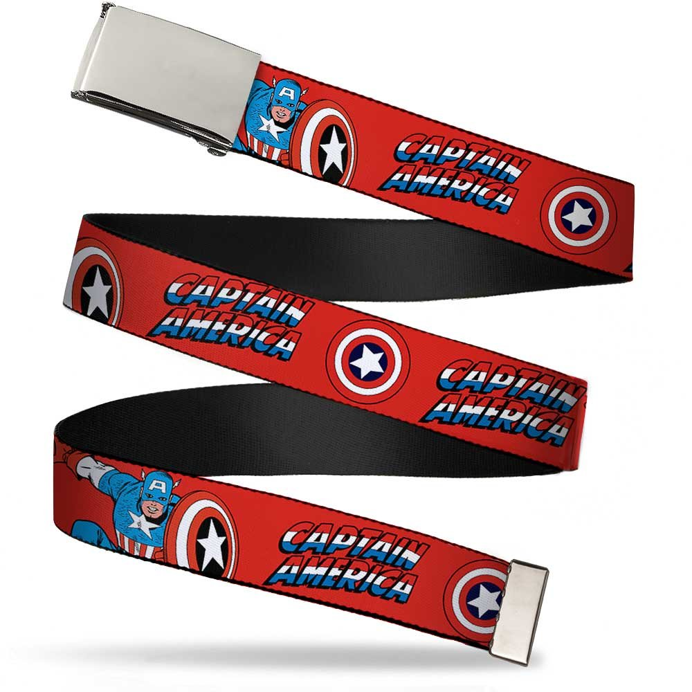 Buckle Down boys standard Buckle-down Web Belt - Captain America Shield Repeat Navy