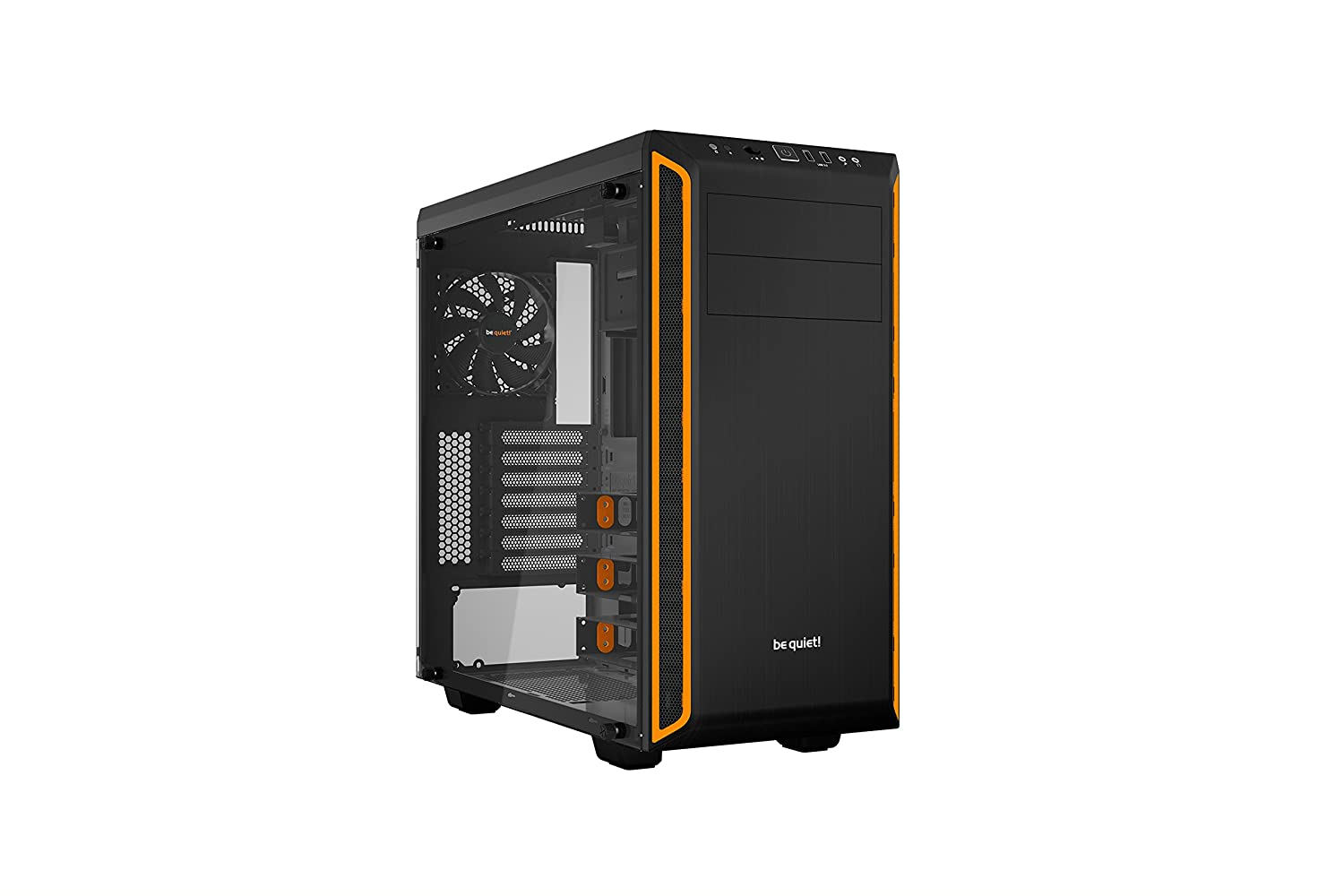 be quiet! Pure Base 600 Window Orange, BGW20, Mid-Tower ATX, 2 Pre-Installed Fans, Tempered Glass Window