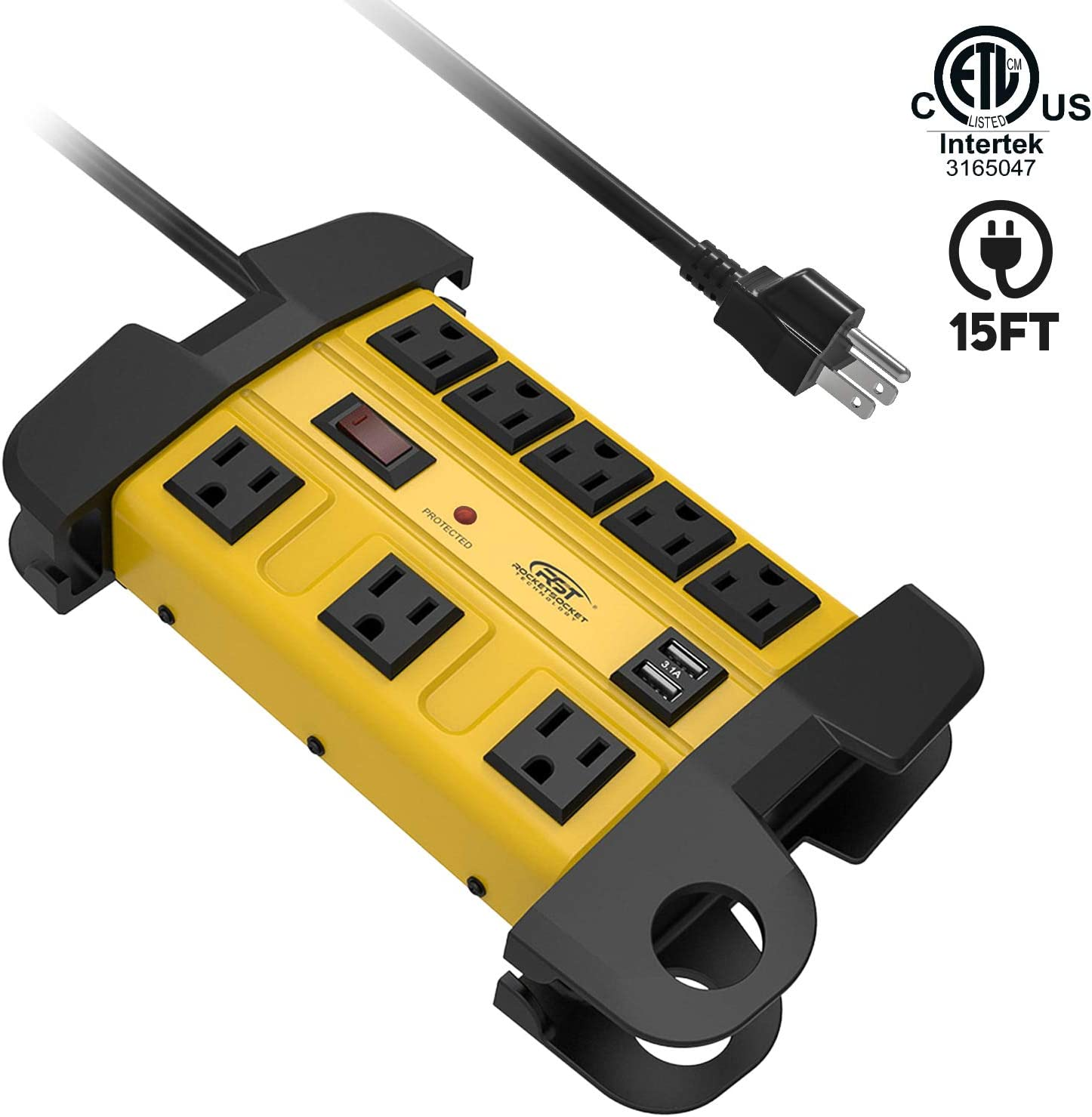 Heavy Duty Power Strip Surge Protector with USB,CRST Metal Power Strip with 2 USB 15 Amps