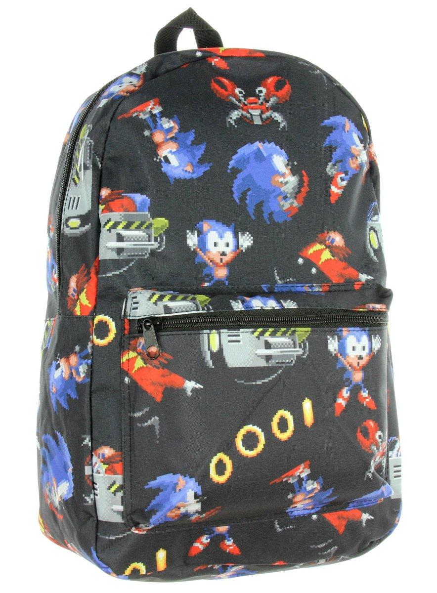 Sonic the Hedgehog Sega Pixel Retro Allover Print Travel Laptop Backpack
