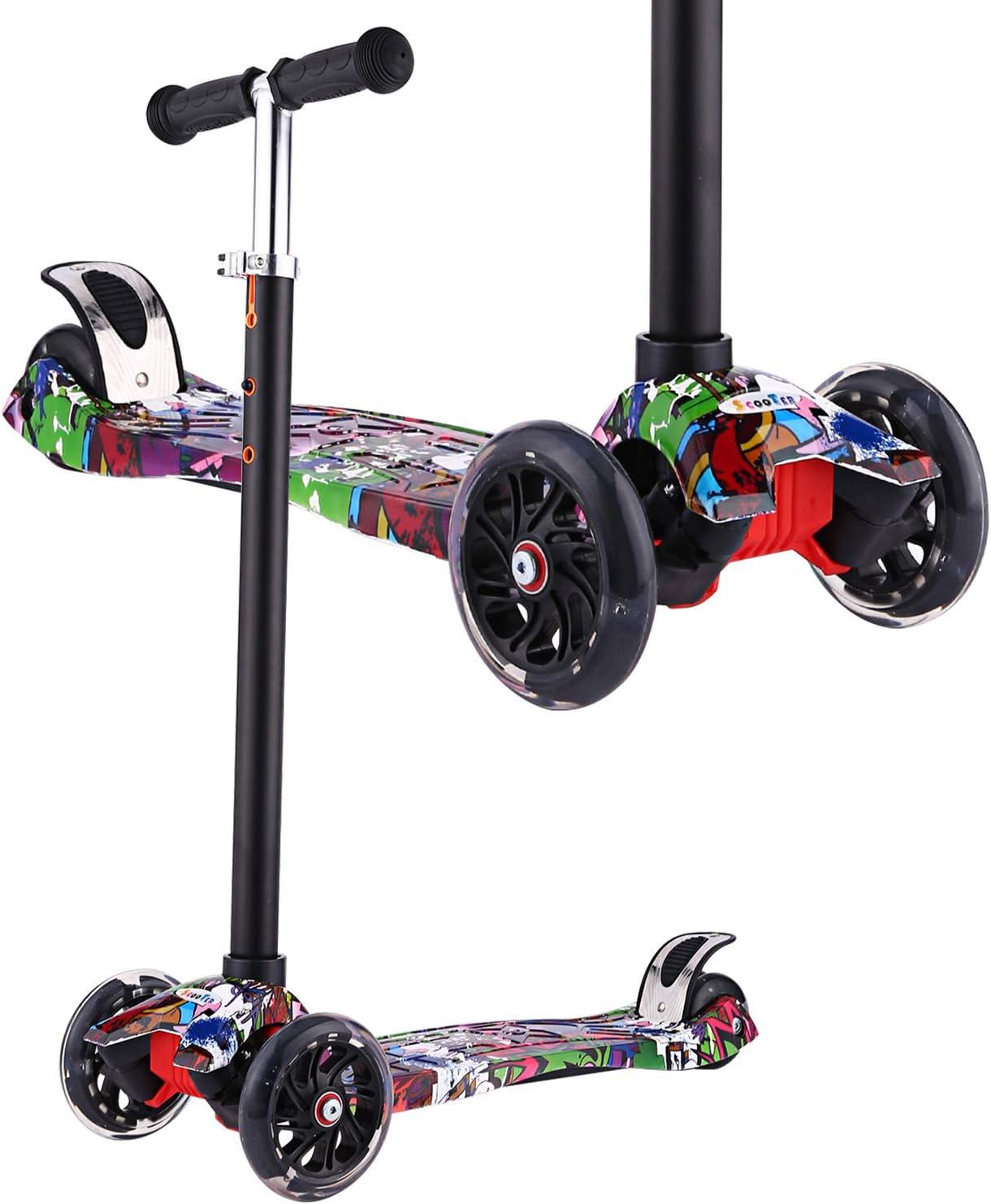 Profun Monopattino con 3 PU Route Luce LED Scooter per Bambini Manubrio Regolabile Altezza 54CM-69CM per Bambini 3-8 Anni Graffiti 1