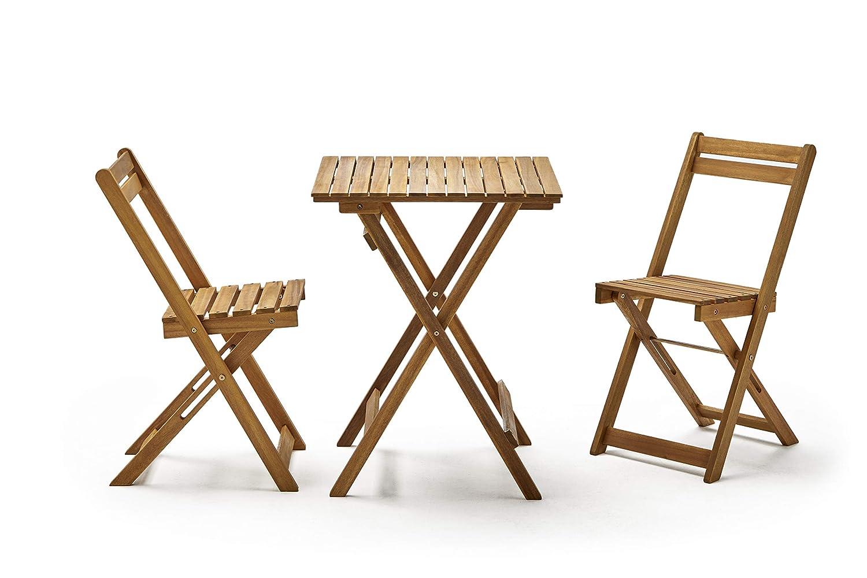 KitGarden - Conjunto Muebles Balcón/Jardin Plegable Madera Acacia FSC, 1 Mesa + 2 Sillas, Madera Natural, Porto