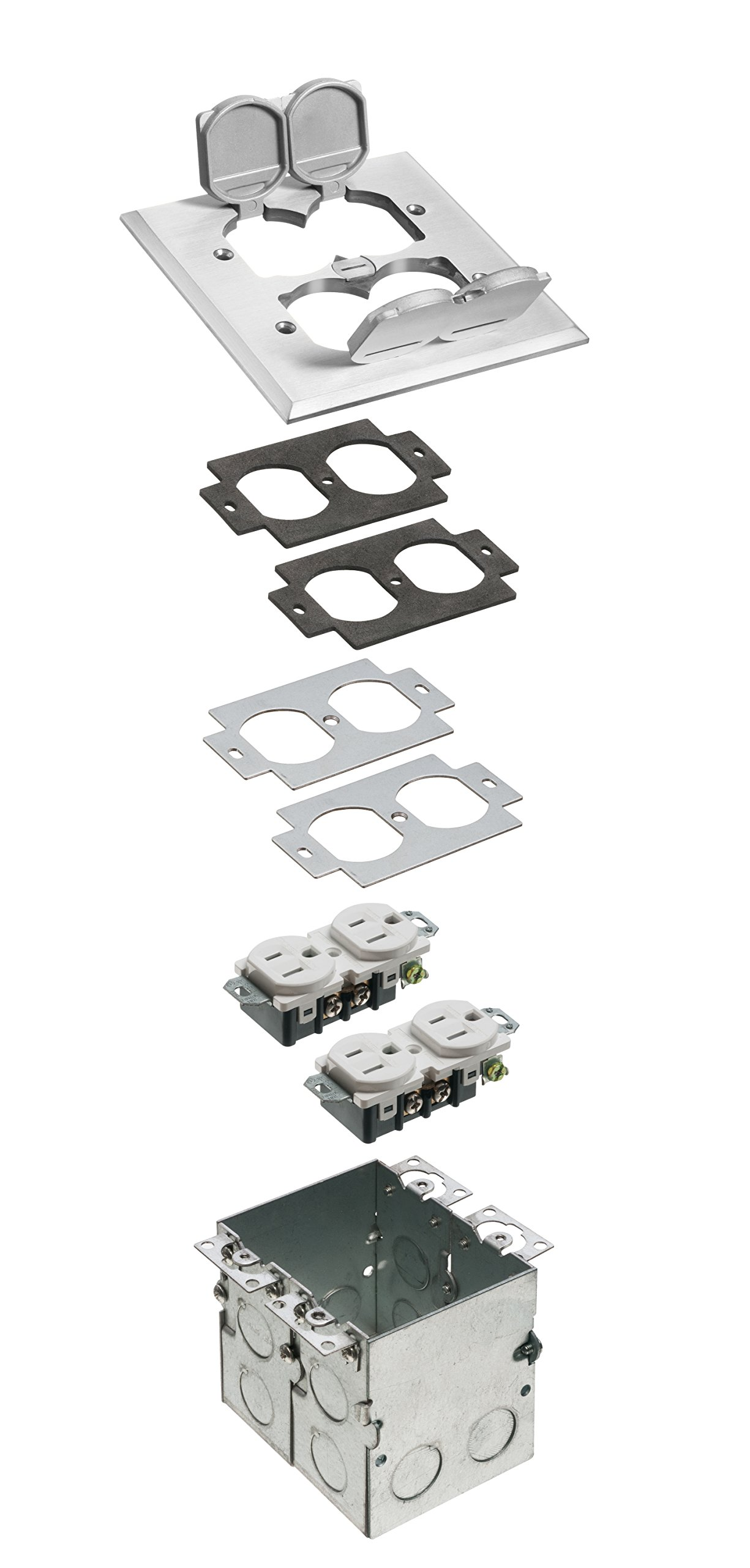 Arlington Industries FLB5551NL-1 Steel Floor Box Kit with Metal Cover and 4-Flip Lids, 2-Gang, Nickel-Plated, 1-Pack