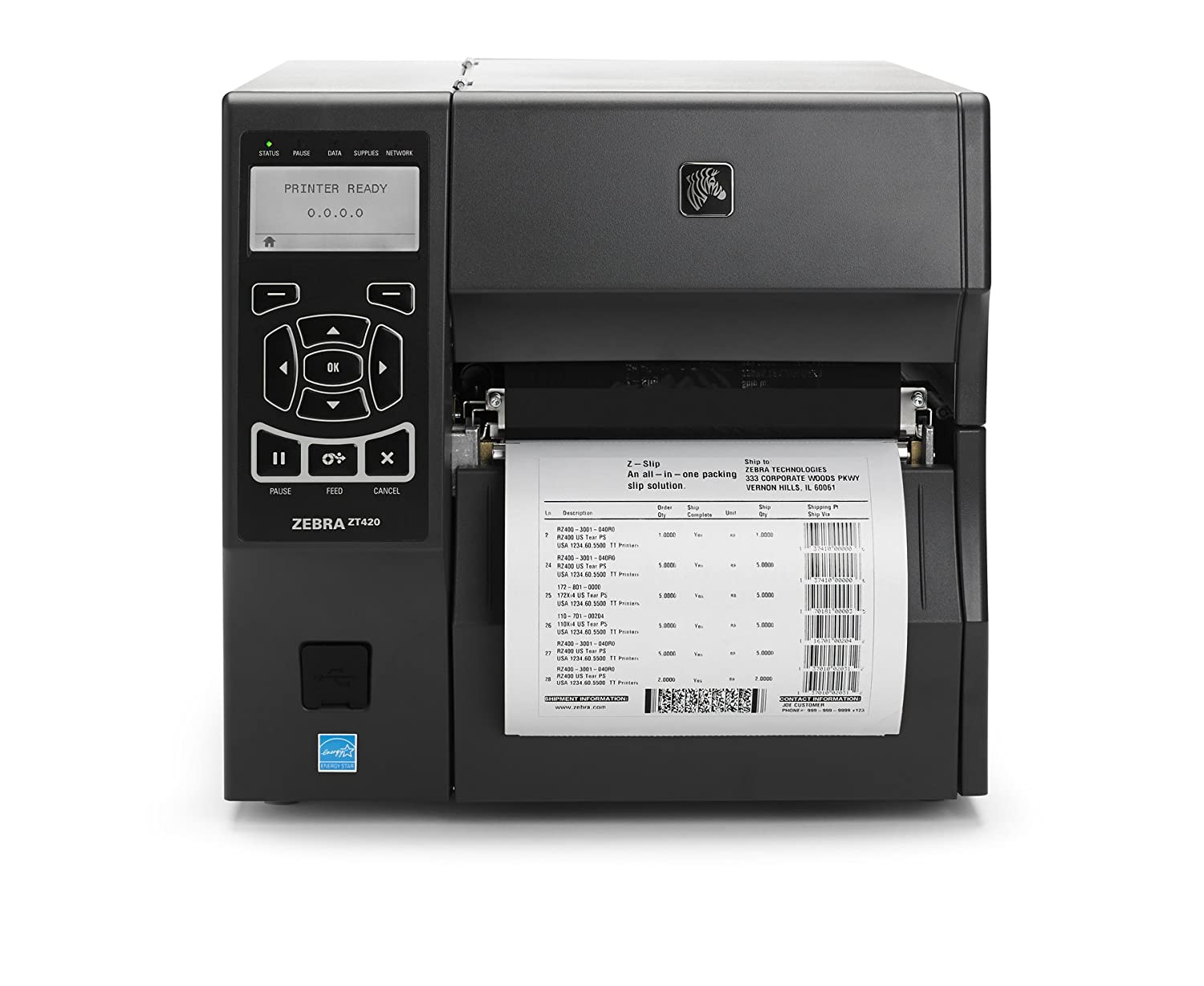 Monochrome 203 DPI Zebra ZT22042-D01200FZ Industrial Direct Thermal Tabletop Printer With 10//100 Ethernet Connection