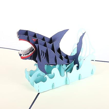 Amazon Liif Jumping Shark Pop Up Card 3d Animal Greeting Card