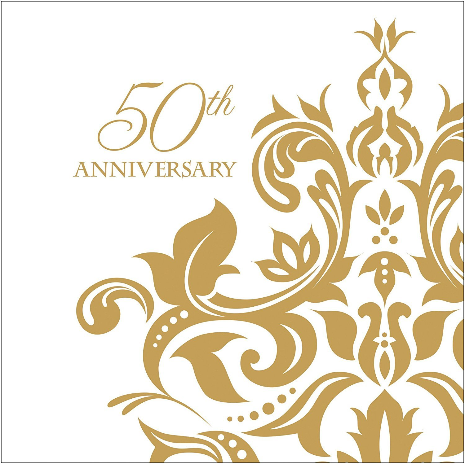 100 Count 3 Ply 50th Anniversary Napkins Wedding Party Favors Supplies Decorations White & Golden Beverage Napkin by Creative Converting