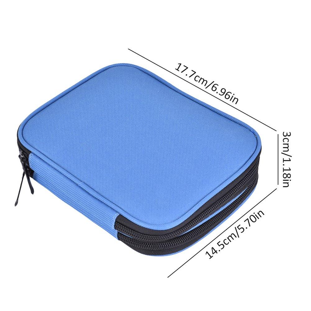 Gaeruite - Estuche de ganchillo para tejer con cremallera y compartimentos pequeños, no incluye accesorios, azul, as show
