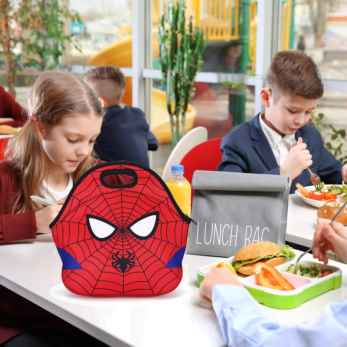 RecooTic Kids Spiderman Lunch Bag Waterproof Insulated Neoprene lunchbox Lunch Tote Bag for School Work Office