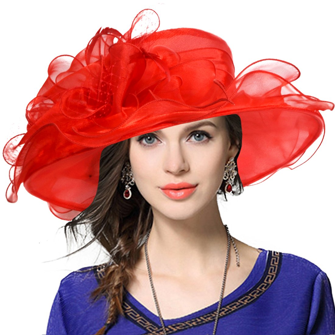 Women's Church Derby Dress Fascinator Bridal Cap British Tea Party Wedding Hat (Red)