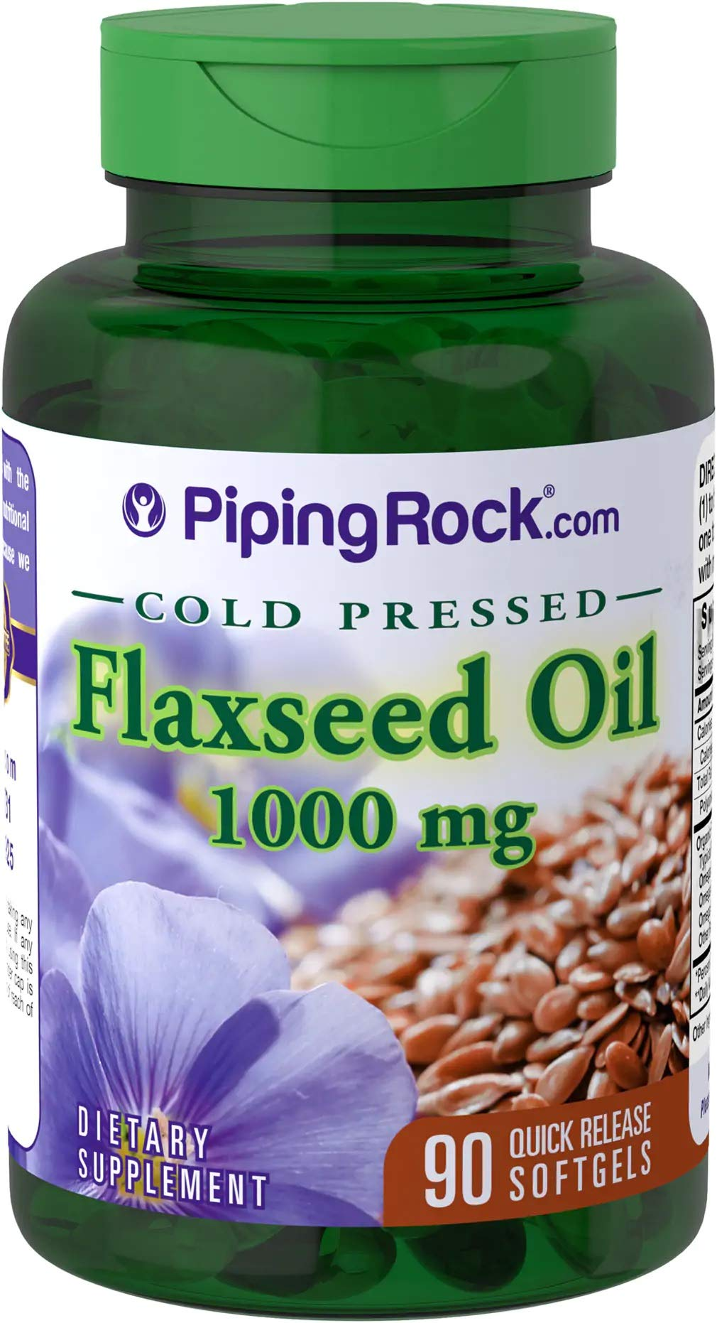 Piping Rock Flaxseed Oil Cold Pressed 1000 mg 90 Quick Release Softgels Dietary Supplement
